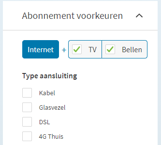 Filteropties Internetten.nl abonnement en type aansluiting